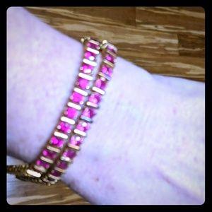 18k gold over SS created Ruby bracelet set